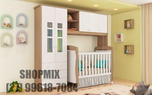 Frete Grátis* Quarto de Bebê Armário Rafa, Armário Componente e Berço Júnior - Módulo