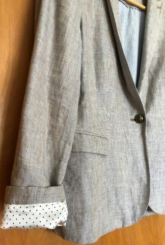 Blazer Zara de linho, forrado, tam. 42, usado