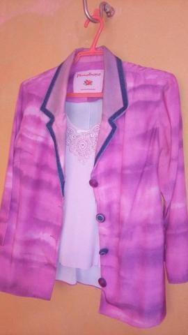 Blazer Em poliester rosa choque degradé Monotropo - Foto 3