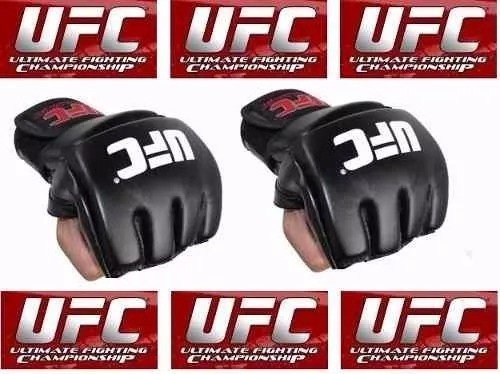 Par de luva couro preto mma UFC vale tudo Boxe Muay Thai Artes Marciais -Nova lacrada