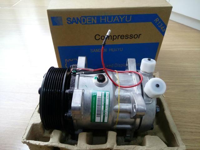 Compressor Sanden 7h15 8 orelhas 12v/24v polia 2A/8pk - Foto 2