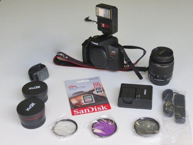 Câmera Dslr Canon T7 EOS Rebel com lente EF-S 18-55 + Assessórios