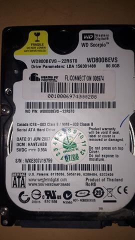 Hard disk western digital, Fujtitsu e Seagate 80gb