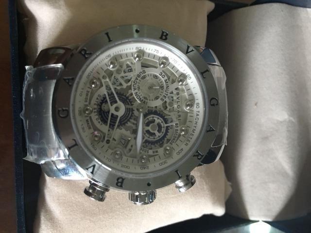 Relógio Bvlgari Skeleton prateado