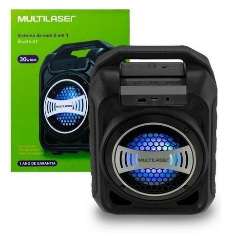 Caixa de Som Bluetooth Sp313 Multilaser 30W Com Efeitos Led Usb Rádio Fm Aux Micro SD - Foto 6