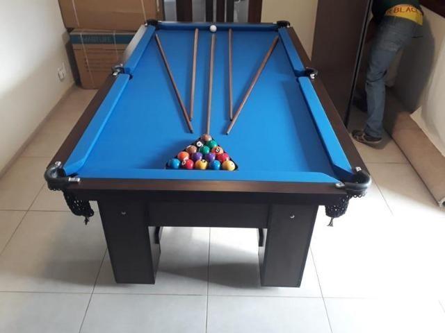 Mesa de Bilhar Tabaco Tx Tecido Azul - Direto da Fábrica - Foto 4