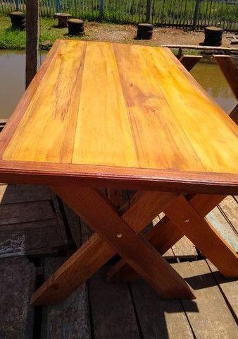 Mesa mais bancos madeira demolição peroba rosa a pronta entrega  - Foto 5