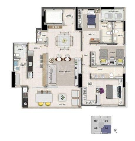 Apartamento 3 suites Completo em armários de alto padrão - Foto 2
