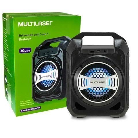 Caixa de Som Bluetooth Sp313 Multilaser 30W Com Efeitos Led Usb Rádio Fm Aux Micro SD - Foto 2