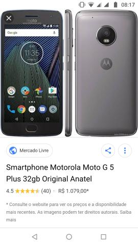 2a861073e5 Smartphone Motorola Moto G 5 plus original grafite 32 gb novinho ...