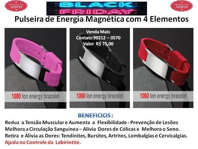 Pulseira Magnética Aço Inox 4x1 Equilíbrio e Força - Foto 3