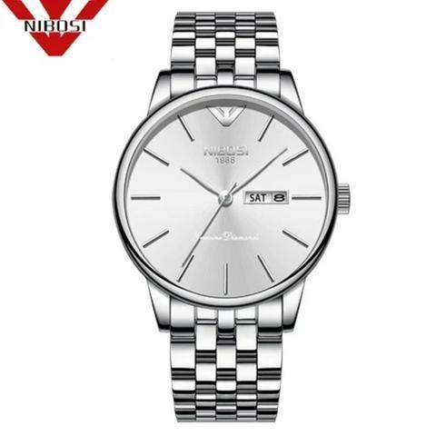 Relógio Masculino Genuine Prateado Nibosi® - Original
