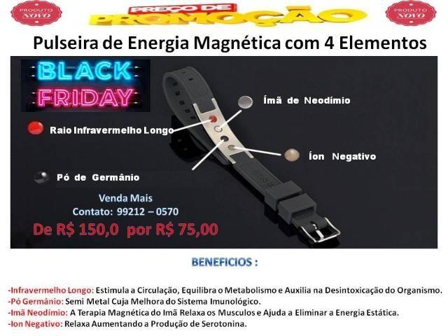 Pulseira Magnética Aço Inox 4x1 Equilíbrio e Força