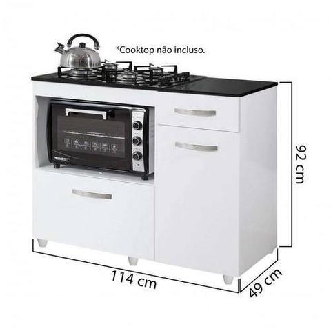 Balcão de Cozinha para Cooktop 2 Portas Violeta Kaiki Móveis Branco - Foto 2