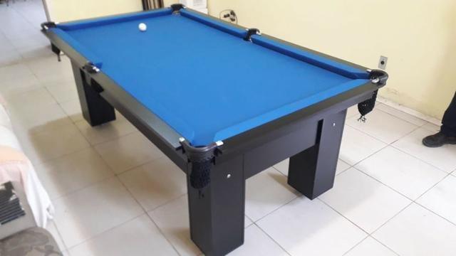 Mesa Charme de Sinuca   Mesa Preta   Tecido Azul   Modelo: OAKJ6816