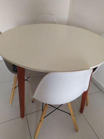 Mesa de Jantar Redonda Tóquio Branca e Mel - Foto 5
