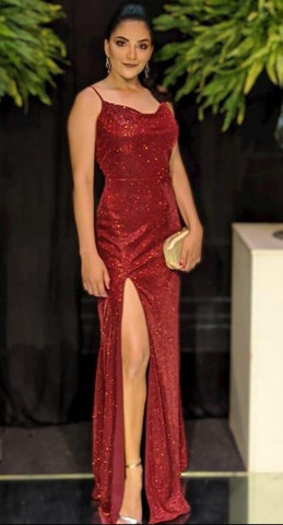 Vestido de festa noite, vermelho longo - Foto 4