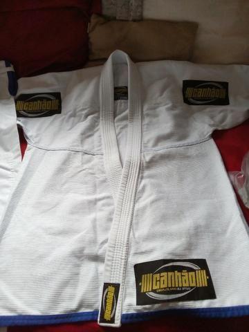 Kimono Jiu Jitsu Canhão Branco A2 Novo, Trançado Leve Para Treino e Competição! - Foto 3