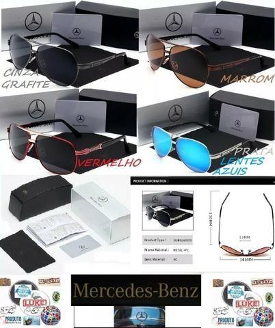 5dc1c15859c17 Óculos De Sol Mercedes Benz Metal Importado da Itália Polarizado Uv400 Luxo