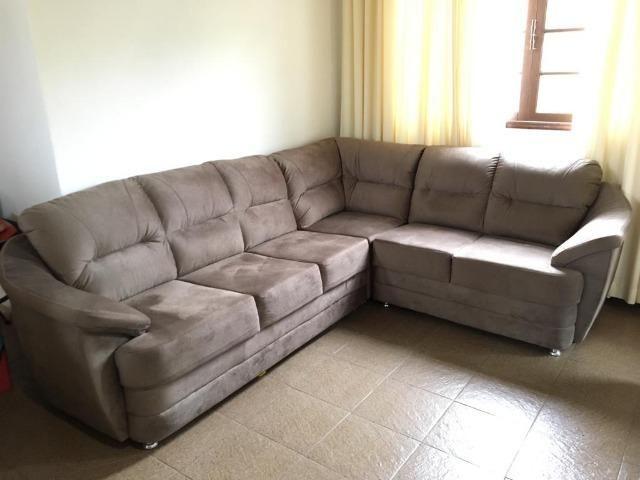 Sofá de canto tecido suede usado