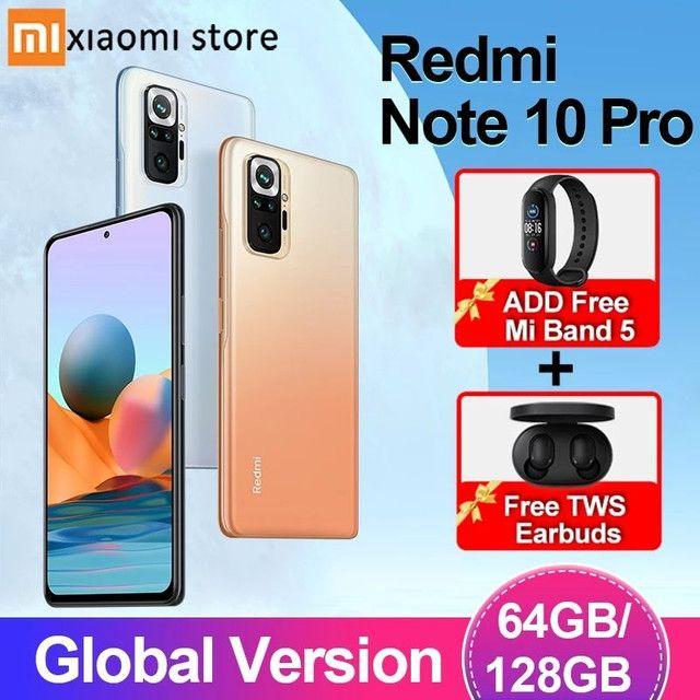 SÓ HOJE**Redmi Note 10 Pro 6/128 Nfc câmera 108mp Lançamento + Mi Band 5
