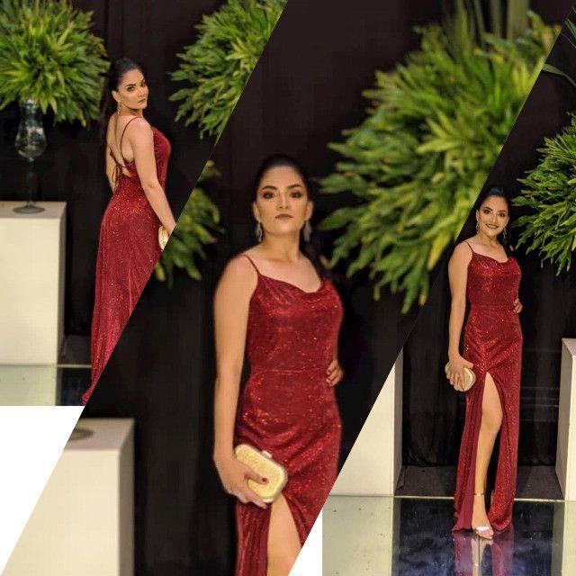 Vestido de festa noite, vermelho longo - Foto 3