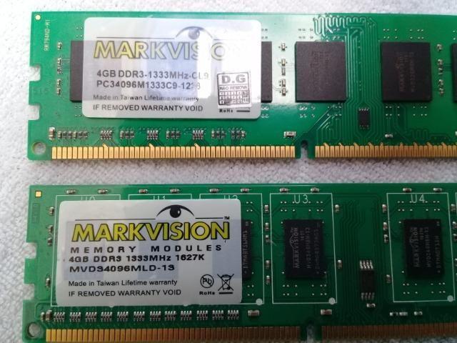 Memória Ram 8GB 2x4 DDR3 Para Desktop Semi-Nova em perfeito funcionamento