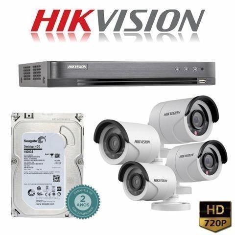 Full HD Dvr Hikvision Kit instalado completo 8 cameras com infra vermelho +  Alarme 5a62123a90a7c