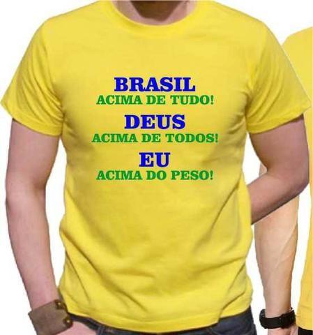 6575f150d8 Camiseta acima do peso gordo Deus Brasil obeso presente - Roupas e ...