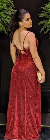 Vestido de festa noite, vermelho longo