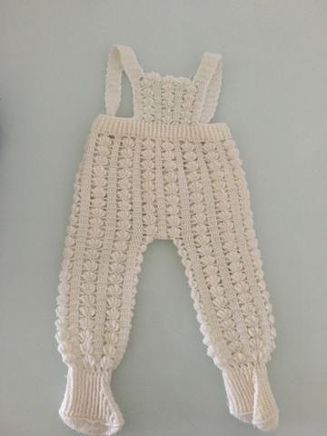 Conjunto de lã + jardineira de lã, tamanho P - Foto 3