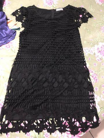 Vestido feminino renda preto passo cartão