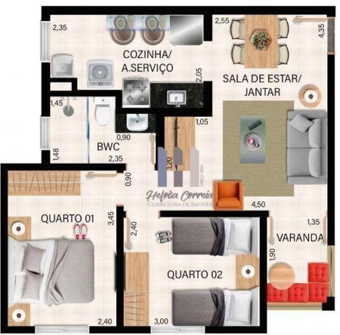 Apartamento com 2 dormitórios à venda, 48 m² por R$ 148.000 - Pium (Distrito Litoral) - Pa - Foto 3