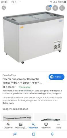 Freezer tampa de vidro horizontal