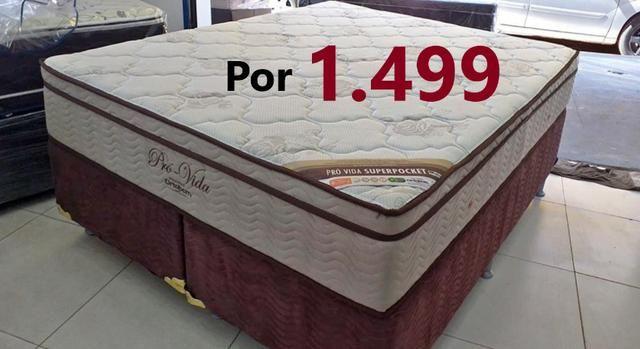 Conjunto Cama Box Queen 158x198x70 Pro Vida Ortobom // Em até 12x