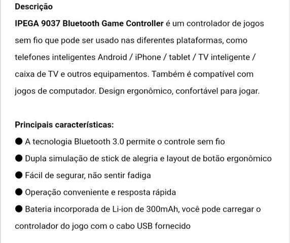 Controle Bluetooth Ípega - Foto 6