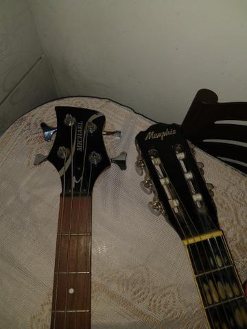 Contrabaixo Michael, violão Mênfis, caixa amplificada Power,iPhone 5 vendo esses itens!