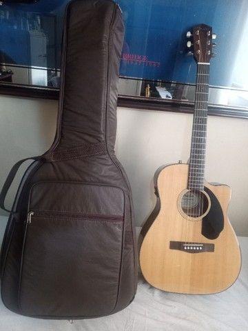 Violão Fender cc60 sce classic eletroacústico, afinador e capa de couro, novo - Foto 5