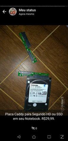Placa Caddy para segundo HD ou SSD em Notebook - Foto 3
