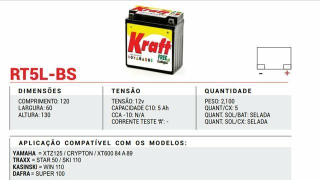 Bateria Moto Kraft 5Ah Crypton /XTZ125/Super100/Traxx Star50, Sky110 - Foto 3