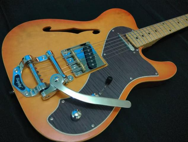 Guitarra Telecaster semi acústica waldman Malagoli bigsby