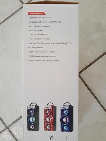 Caixinha de som com Bluetooth, entrada para pen drive, cartão de memória e rádio FM - Foto 4