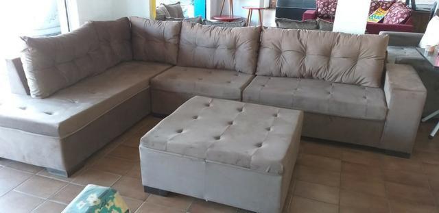 Sofa de canto gigantesco 3.32x2.06 puff enorme apenas 1400 a vista ou 10x159 cartao - Foto 2