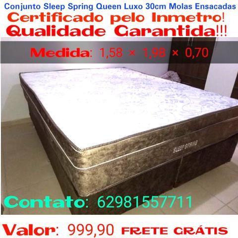 Conjunto Sleep Spring Queen Luxo Molas Ensacadas 30cm até 10x Sem Juros