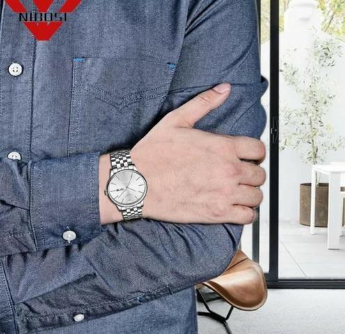 Relógio Masculino Genuine Prateado Nibosi® - Original - Foto 2