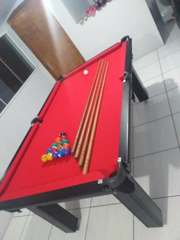 Mesa Tentação de 4 Pés Cor Tabaco Tecido Vermelho Mod. GJSD5700 - Foto 3