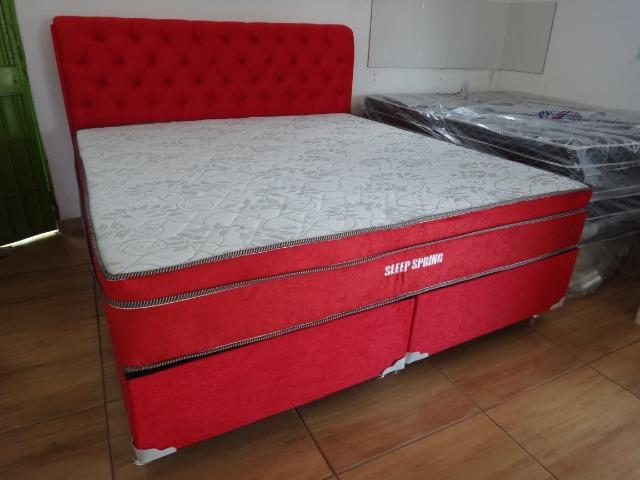 Cama box Super King Molas Ensacadas Individualmente com Cabeceira Estofada Super Luxo