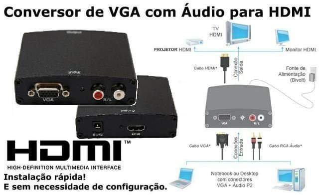 Conversor Vga Para Hdmi Com Áudio Rca - Full Hd 1080p