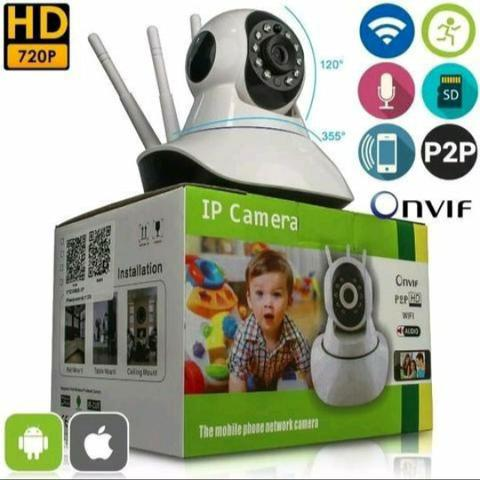 Câmera ip robô 3 antenas via Wi-Fi App próprio e visão noturna yoosee - Foto 4