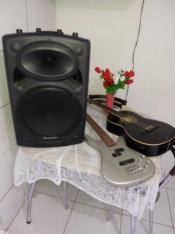 Contrabaixo Michael, violão Mênfis, caixa amplificada Power,iPhone 5 vendo esses itens! - Foto 2